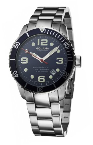 Golana Aqua Pro Swiss Made Divers Mens Watch Rotating Divers Bezel AQ200.4