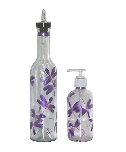 Hand Painted Clear Glass Pour Spout Bottle & Soap/ Lotion Dispenser Set. Metallic Purple Dragonfly. (Fly Dispenser compare prices)