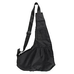 T Tocas Little Dog Puppy Hand-free Sling Carrier Shoulder Bag, Older Pets Cat Kitten Travel Pouch, Washable Oxford Cloth (Medium, Black)