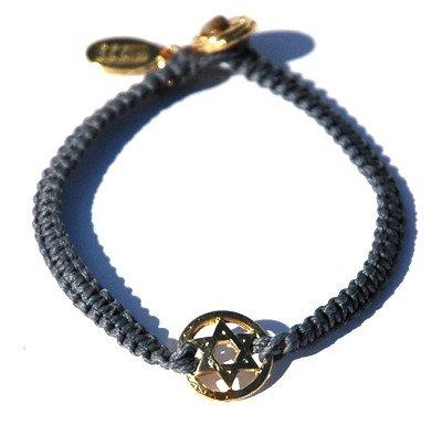 Gold Star of David on Braided Denim Blue Bracelet Handmade Jewish Jewlery