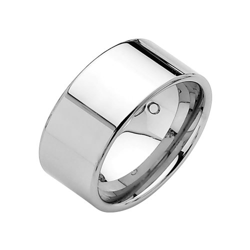 10mm Flat Tungsten Wedding Band Ring for Men - Size 8.5