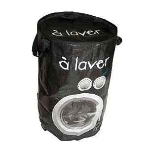 Panier à linge rond City A laver Polypropylène Noir Avec anses Fermeture zip Incidence 41uaIzrS9-L._SL500_AA300_