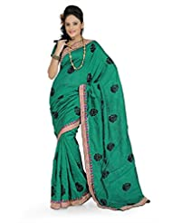 Designersareez Women Bhagalpuri Silk Embroidered Green Saree With Unstitched Blouse(647)
