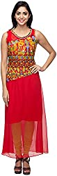 G&Z Collections Women's Georgette Straight Kurta (GZ010, Red, 46)
