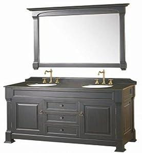 60 Inch Double Sink Bathroom Vanity Black Granite Counter