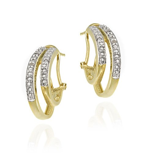 18K Gold over Sterling Silver Diamond Accent & Pave Pattern Two Row Half Hoop Earrings
