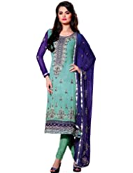 Exotic India Ceramic-Green and Blue Designer Suit with - Ceramic-Green and Blue