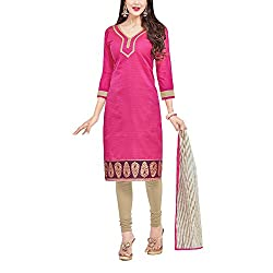 Applecreation Women's Pink | Synthetic unstitched dress materials for women party wear bollywood dress material for Casual | Ceremony | Evening Occasions