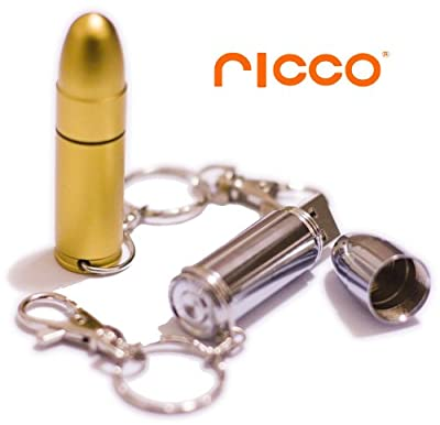 Mini Stainless Steel Metal Bullet High Speed USB 2.0 High Speed Flash Pen Drive Disk Memory Stick Support Windows and Mac OS Water Proof and Shock Proof Metallic Body with Key Ring and Belt Loop Great Gift Choice of 4GB 8GB 16GB 32GB Great Gift (Ricco 01-
