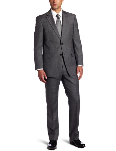 Tommy Hilfiger Men's 2 Button Side Vent Trim Fit Solid Suit with Flat Front Pant, Gray, 42 Short
