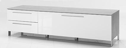 Porta tv in laminato cemento e bianco lucido