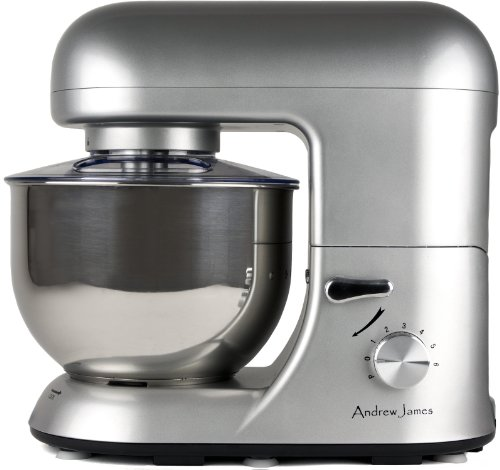 New Model Andrew James 1500 WATT Electric Food Stand Mixer In Stunning Silver With Splash Guard and 5.2 Litre Bowl + Spatula + 128 Page Food Mixer Cookbook