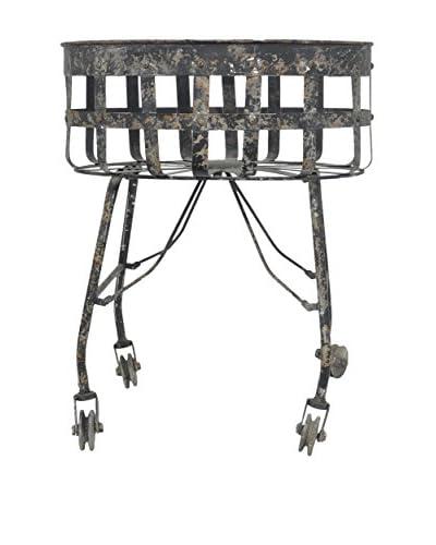Three Hands Metal Basket on Wheels, Black