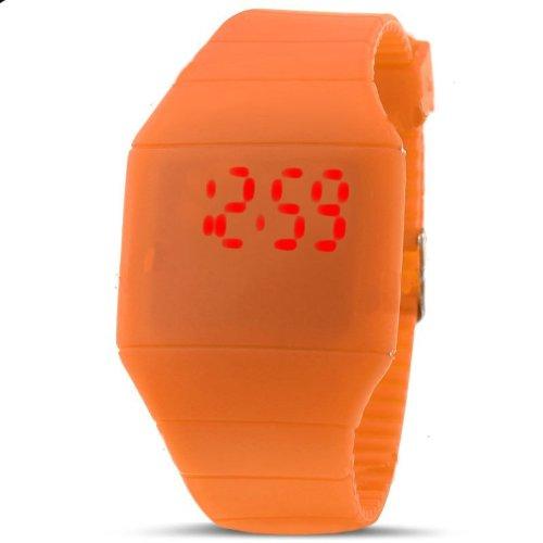 Touch Screen Unisex Led Digital Watch Wristwatch Timepiece With Gum Strap - Orange
