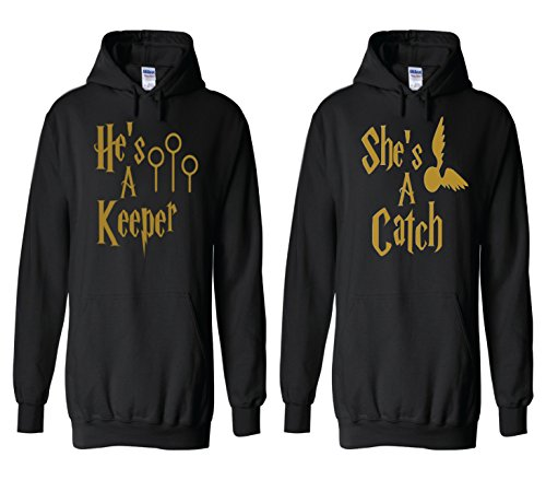 Harry Potter Couples Package, Keeper and Catch Black with Gold Pullover Hoodie (Womens Clothing Package compare prices)