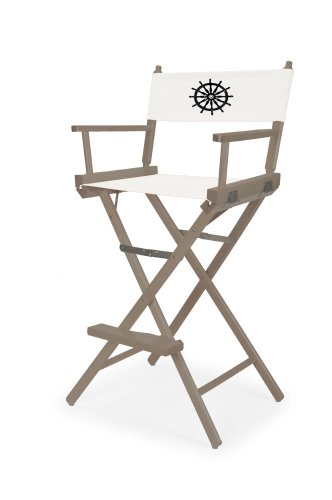Telescope Casual Heritage Bar Height Director Chair, Walnut Finish with Marine White and Black Motif Cover