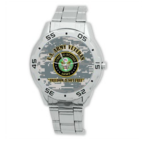 Best Gifts US Army Veteran and Freedom is not Free Watch Analogue Stainless Steel Men's Watch