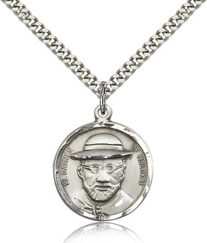 Blessed Damian of Molokai Medal, Sterling Silver