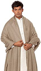 Exotic India Plain Men's Dushala from Amritsar (Lohi) - Color Simply TaupeColor Free Size