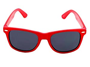Vintage Wayfarer Style Sunglasses Dark Lenses Red Frame