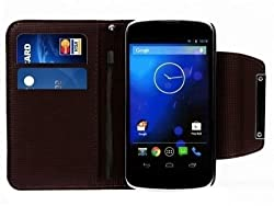 2010kharido Google LG Nexus 4 E960 Leather Flip Wallet Case Cover Pouch Table Talk NEW Black
