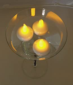 Lily's Home Battery Operated FLOATING Tealight LED Candles, Great for Wedding Centerpiece, Christmas, Thanksgiving, Party Lights, Set of 10 - Amber