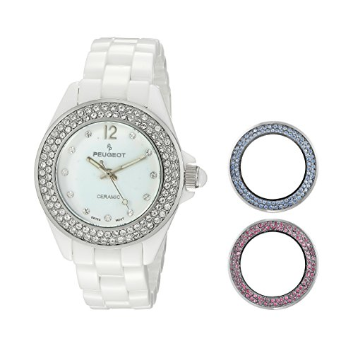 Peugeot Women's PS4910WT Peugeot Swiss Genuine Ceramic Interchangeable Bezel Set Watch