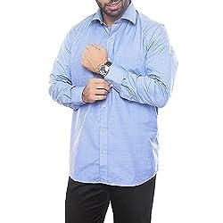 VinaraTrends Blue Color Poly Cotton Shirt For Men
