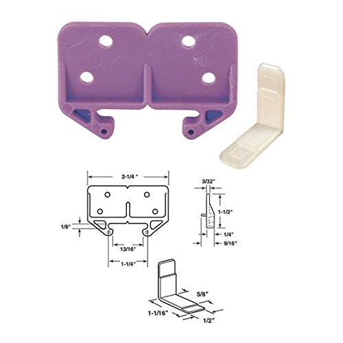 """Prime-Line Drawer Track Guide Kit 3/32"""" X 1-3/16"""" White 1 / Set front-364087"""