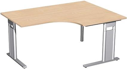 PC scrivania destra, altezza e C-Mascherina Optional, 1600x 1200x 680-820, faggio/argento, Gera mobili