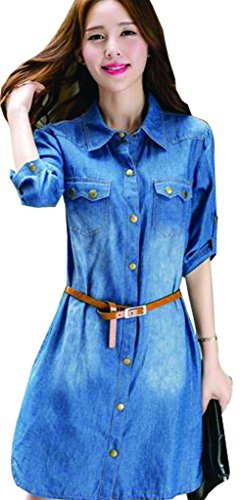 Happy Womens Lapel Loose Single Breasted High Waist Denim Dress