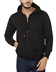 Weardo Men's Fleece Sweatshirt (WZipBlackHood_Black_Small)