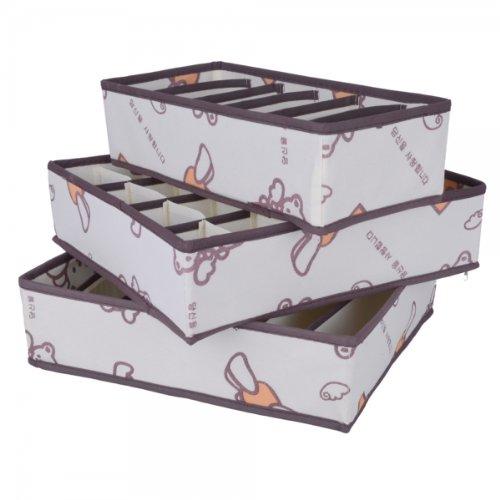 3Pcs Non-Woven Winnie Pattern Underware Storage Box With Cover Beige 13012610