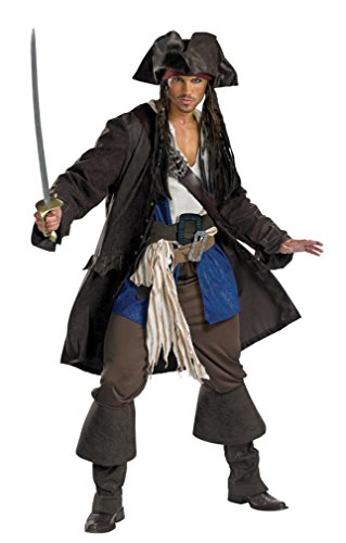 Pirates of the Caribbean Jack Sparrow Prestige Young Adult Costume Size 38-40