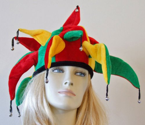 Jester Hat Jamaica Halloween Mardi Gras Costume Masquerade New Orleans Prom Party