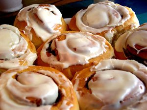 Cinnamon Rolls with Sweet Cream Vanilla Bean Frosting
