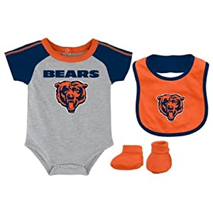 Chicago Bears Grey Newborn Creeper, Bib and Bootie Set by Adidas Select Infant / Toddler / Youth Size: 18 Months