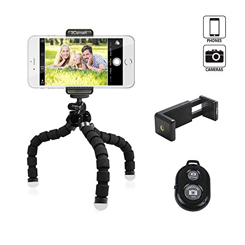 3Csmart-Octopus-Style-Portable-and-adjustable-Tripod-Stand-Holder-for-iPhone-Cellphone-Camera-with-Universal-Clip-and-Remote-Black