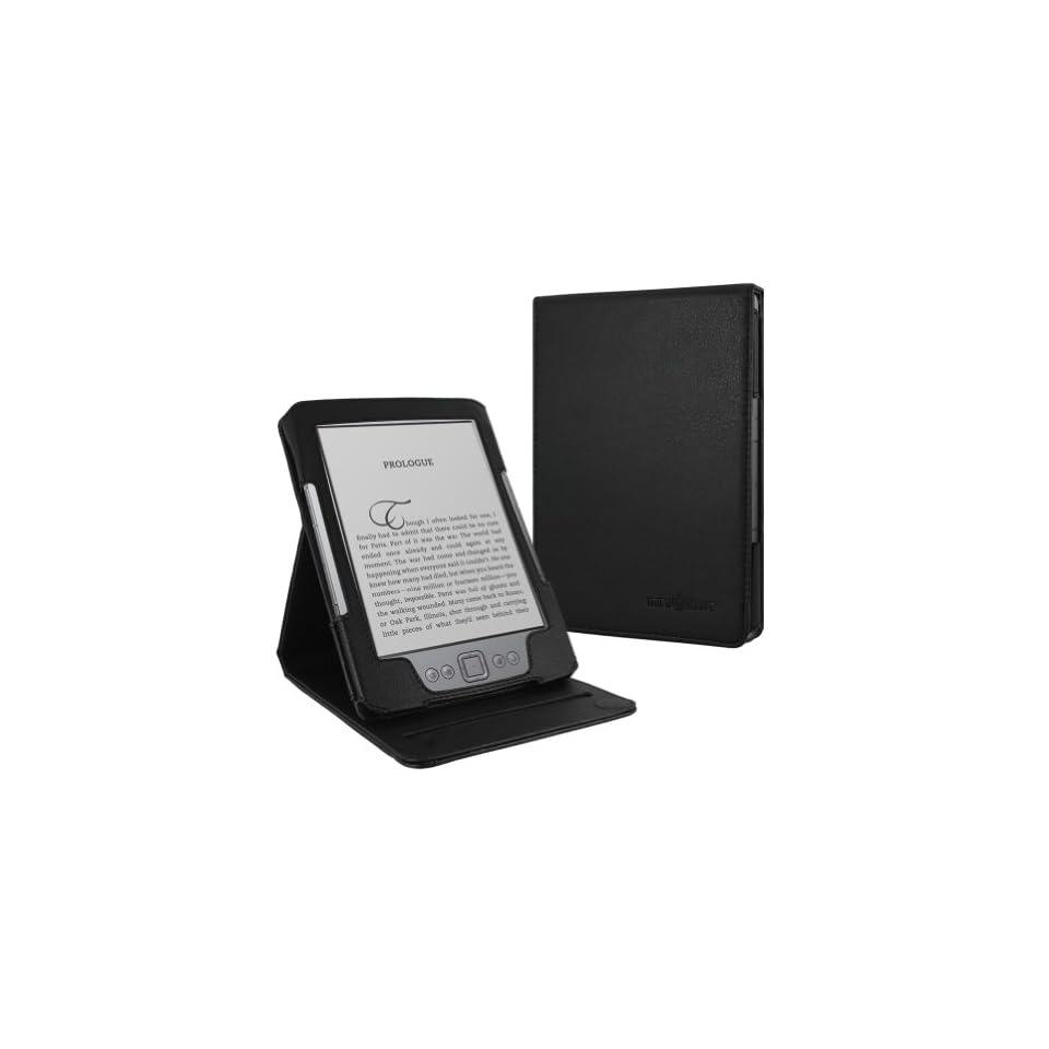 Kindle 4 Leather Case Cover Vintage Executive Folio Multi Angle Stand Accessory (Black)