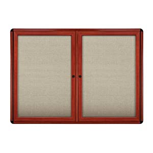 """2 Door Ovation Fabric Bulletin Board Frame Finish: Cherry, Size: 2'10"""" H x 3'11"""" W, Surface Color: Beige"""