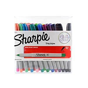 Sharpie Permanent Markers, Ultra Fine Point, Assorted Colors, Pack of 24 (1756761)