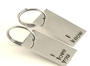 Star Wars Inspired - I Love You and I Know - A Pair of Hand Stamped Aluminum Keychains from Hand Trades