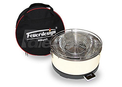 Tischgrill MAYON für Holzkohle – Rauchfrei – v. Feuerdesign – Cremeweiss – mit Tasche und wiederaufladbaren Akku günstig bestellen