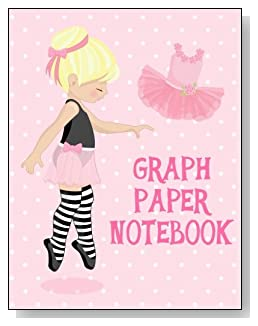 Graph Paper Notebook For Girls - A cute little blonde ballerina against a mostly pink background graces the cover of this graph paper notebook for younger girls.