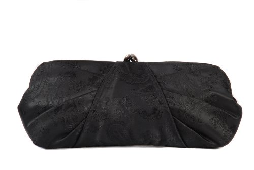 Black brocade clutch bag with pleated body evening handbag by Olga Berg