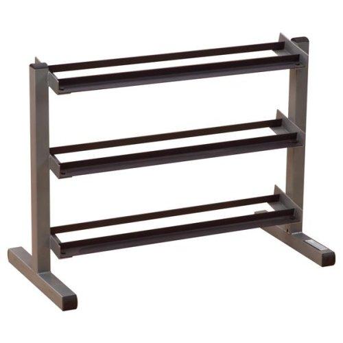 3-Tier Horizontal Dumbbell Rack w Slanted Shelves