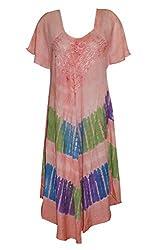 Indiatrendzs Women's Dress Boho Poncho Tie Dye Peach Dresses