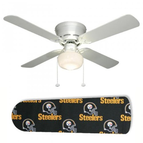 "Pittsburgh Steelers 42"" Ceiling Fan with Lamp (White) (12.00H x 42.00W x 42.00D) at Amazon.com"