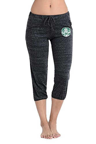 Tough Cookie's Women's Triblend Starbucks Parody Muscle Girl Print Capri Pants (Medium, Charcoal)