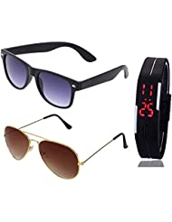 BLACK WAYFARER SUNGLASSES AND GOLDEN BROWN AVIATOR SUNGLASSES WITH TPU BAND RED LED DIGITAL BLACK DIAL UNISEX...
